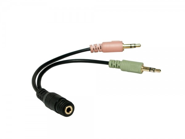 Audio Adapter 3,5mm Klinke Buchse an 2x 3,5mm Stecker, schwarz, 0,15m, LogiLink® [CA0020]
