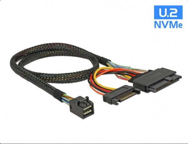 Kabel SFF-8643 Stecker an U.2 SFF-8639 + SATA Strombuchse 0,5m, Delock® [84819]