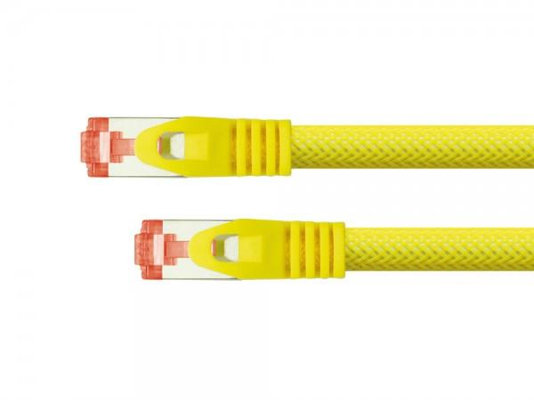 Python® Series Patchkabel mit Rastnasenschutz (RNS®) und Nylongeflecht, Cat. 6, S/FTP, PiMF, PVC, 250MHz, OFC, gelb, 0,25m