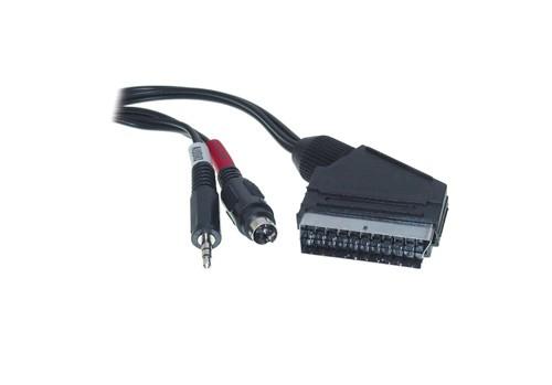 Anschlusskabel Scart Stecker an S-VHS + 3,5mm Klinke, 5m, Good Connections®