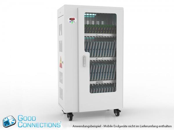 Tablet-Ladewagen für bis zu 52 Geräte, UV-C Desinfektion, Smart Control, Synchronisierungsfunktion für iOS/Android, grau, Good Connections®