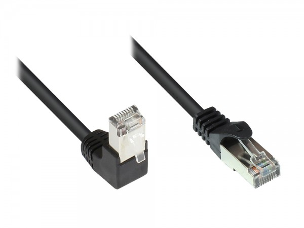 Patchkabel, Cat. 5e, F/UTP, 1x 90° RJ45 Stecker (Rastnase oben)/ 1x gerade, schwarz, 15m, Good Connections®