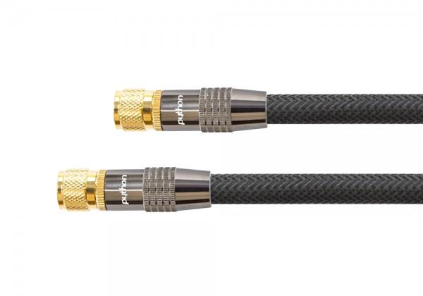 SAT Antennenkabel, F-Stecker an F-Stecker, vergoldet, Schirmmaß 120dB, 75Ohm, Nylongeflecht schwarz, 15m, PYTHON® Series