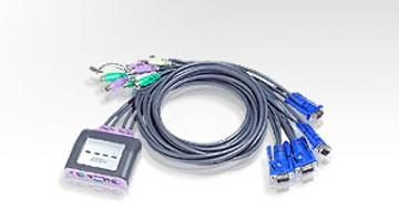 Aten® CS-64A KVM-Switch, 4-fach mit Audio, mit Kabelsatz PS/2