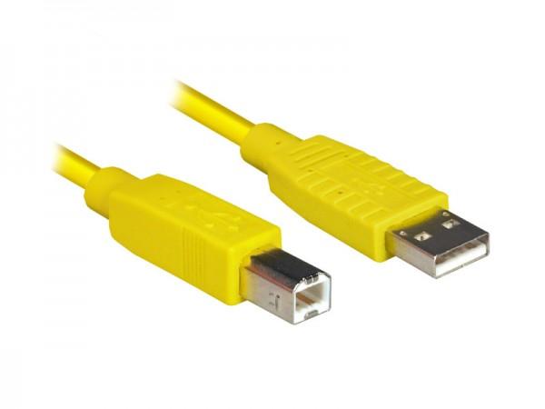 Anschlusskabel USB 2.0 Stecker A an Stecker B, gelb, 1,8m, Good Connections®