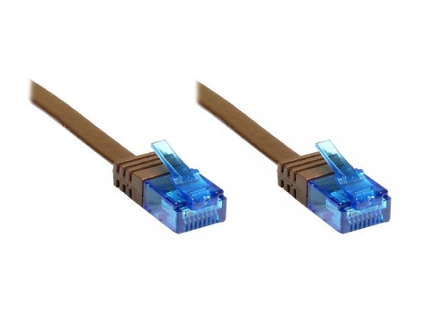 Patchkabel, Cat. 6a, U/UTP, FLACHKABEL, 500 MHz, dunkelbraun, 7m, Good Connections®