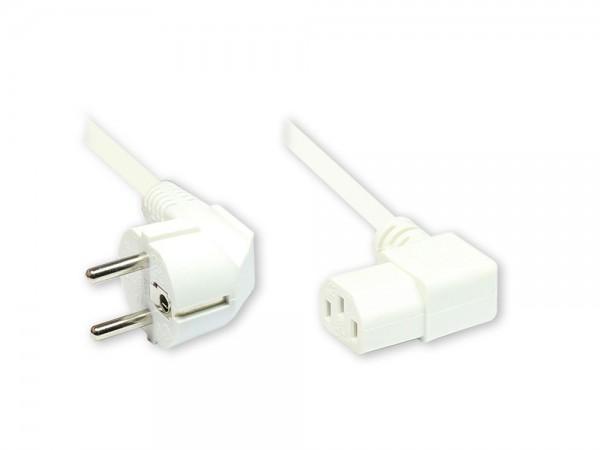 Netzkabel Schutzkontakt-Stecker an Kaltgeräte-Buchse, Typ F an C13, Schutzkontakt rechts abgewinkelt, 1,8m, weiß, Good Connections®