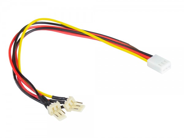 Lüfter-Y-Adapterkabel, 3-pin Bu. an 2 x 3-pin St., 0,22m, Good Connections®