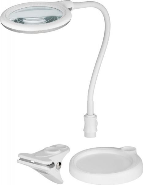 LED Stand/Klemm-Lupenleuchte, 6W, 230V, 570 lm, 6200K, (neutralweiß), nicht dimmbar, A+, 120° Abstrahlwinkel