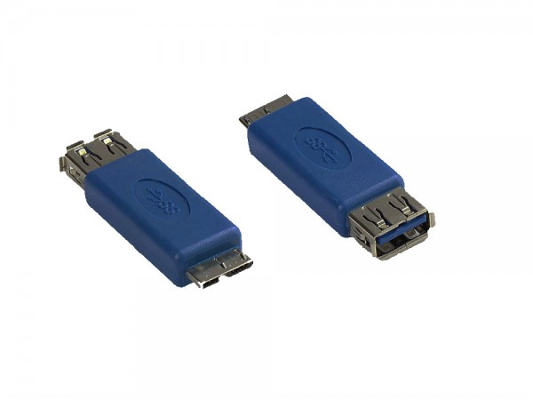 Adapter USB 3.0 Typ A Kupplung auf Typ Micro B Stecker, blau, Good Connections®