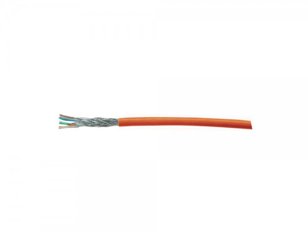 Patchkabel, Cat. 7, S/FTP, PiMF, halogenfrei, AWG26/7, orange, 100m Rolle, Good Connections®