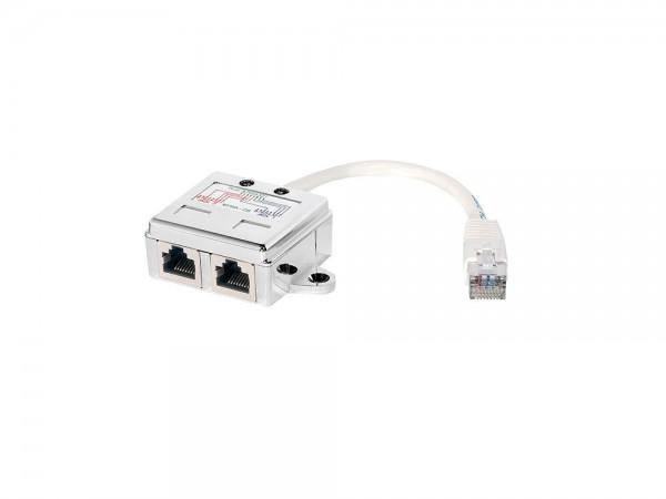 T-Adapter RJ45 Stecker an 2 x RJ45 Buchse 2 x 10/100BaseT, geschirmt, LogiLink® [NP0044]