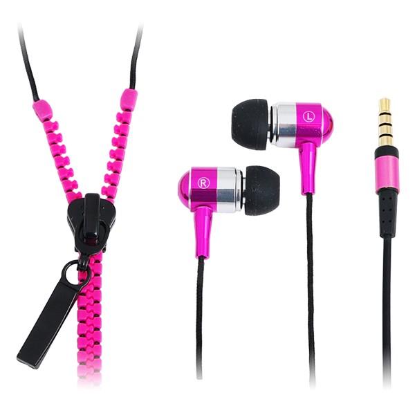"""""""Zipper"""" Stereo In-Ear Kopfhörer mit Mikrofon und Fernbedienung, Neon Pink, LogiLink® [HS0022]"""