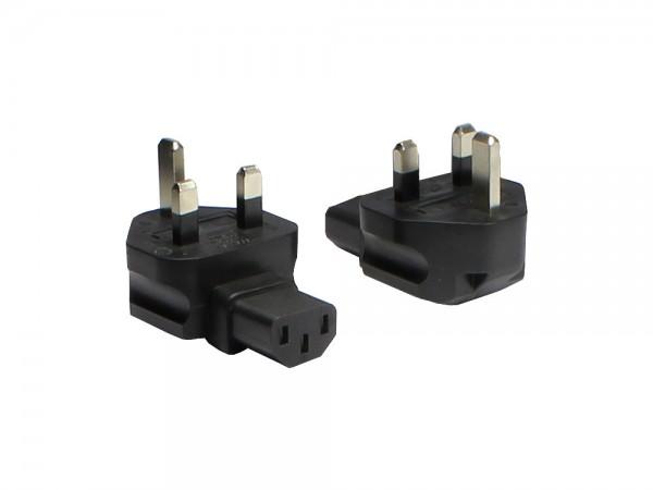 Stromadapter, England, UK Stecker auf Kaltgeräte Buchse (linksabgewinkelt), Good Connections®