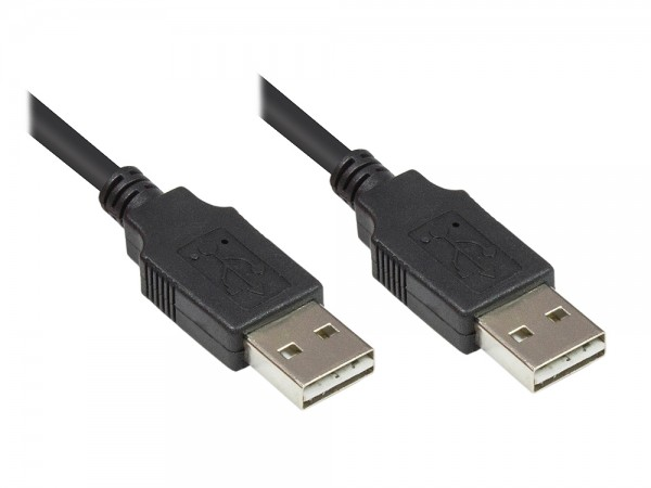Anschlusskabel USB 2.0 High-Speed EASY A Stecker an EASY A Stecker, schwarz, 3m, Good Connections®