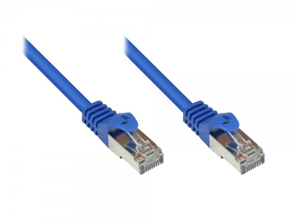 RNS® Patchkabel mit Rastnasenschutz, Cat. 5e, SF/UTP, PVC, 100MHz, blau, 0,15m, Good Connections®