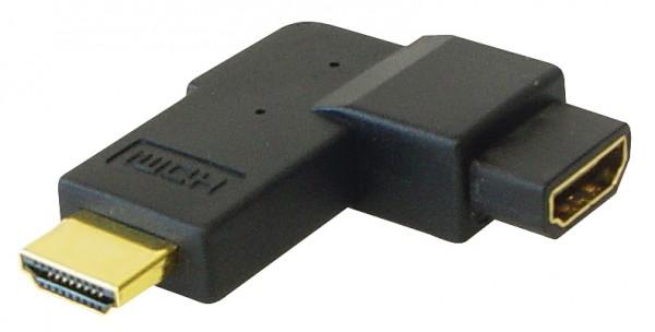 HDMI Adapter Stecker auf Buchse, 90° gewinkelt, vergoldete Kontakte, Good Connections®