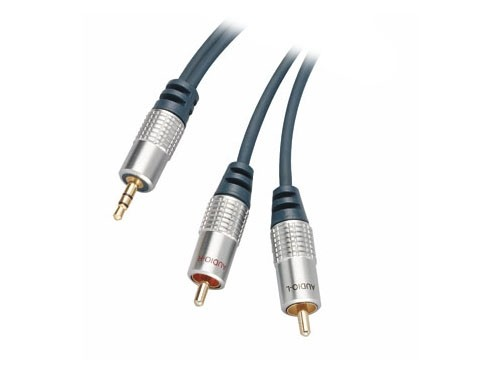 Home Cinema Kabel, 3,5mm Klinke Stecker auf 2x Cinch Stecker, 5m