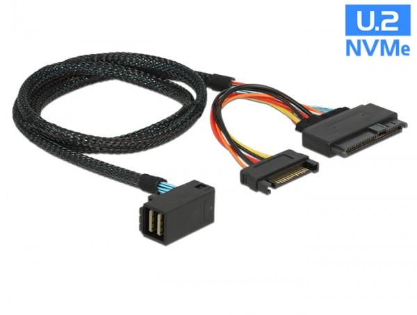 Kabel SFF-8643 Stecker gewinkelt an U.2 SFF-8639 Stecker + SATA Strombuchse 75 cm, Delock® [84822]