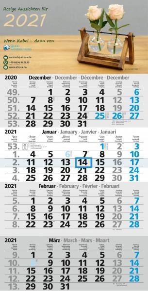 """4-Monatskalender 2020, Motiv """"UMWELT"""" 30cm x 59cm mit Wochenzählung und Datumsschieber"""