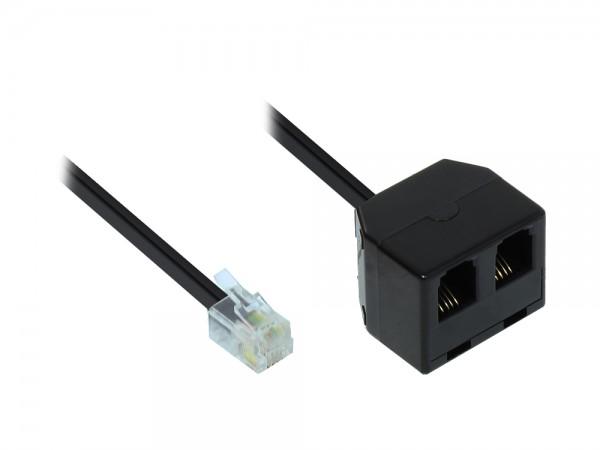 Adapter Modular Verbinder, Western-Stecker 4/4 auf 2x Western-Kupplung 4/4, schwarz, 0,15m, Good Connections