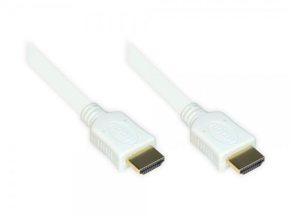 High-Speed-HDMI®-Kabel mit Ethernet, vergoldete und angespitzte Stecker, High Quality, weiß, 15m, Good Connections®