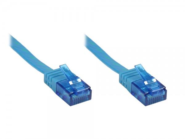 Patchkabel, Cat. 6a, U/UTP, FLACHKABEL, 500 MHz, blau, 15m, Good Connections®