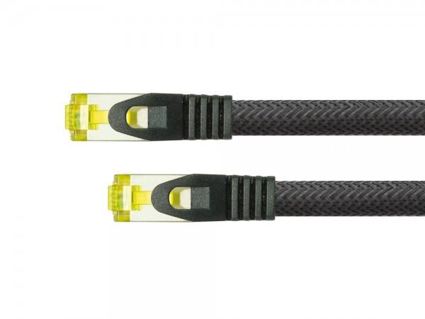 Python® Series RJ45 Patchkabel mit Cat. 7 Rohkabel, Rastnasenschutz (RNS®) und Nylongeflecht, S/FTP, PiMF, halogenfrei, 500MHz, OFC, schwarz, 25m