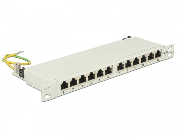 "10"" Patchpanel 12 Port Cat.6A 0.5 HE grau, Delock® [43311]"