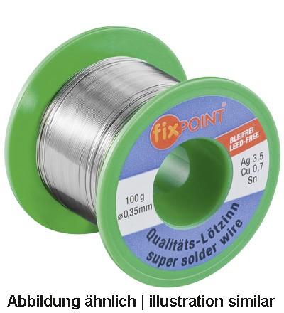 Lötzinn 100g Rolle, Ø 0,35mm, Material: 95,5% Zinn, 3,8% Silber, 0,7% Kupfer