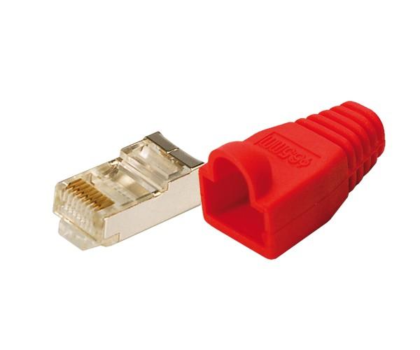 Modularstecker CAT5e mit Knickschutzhülle, rot, 100 Stück, Logilink® [MP0016]
