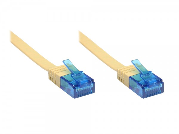 Patchkabel, Cat. 6a, U/UTP, FLACHKABEL, 500 MHz, hellbraun, 1m, Good Connections®