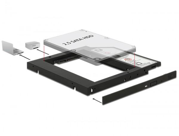 """Slim SATA 5.25"""" Einbaurahmen für 1x 2.5"""" SATA HDD bis 9,5 mm, Delock® [62669]"""