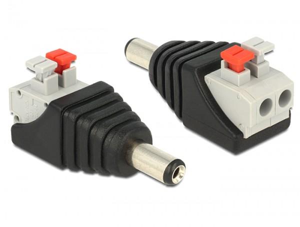 Adapter DC 5,5 x 2,1 mm Stecker an Terminalblock mit Drucktasten 2 Pin, Delock® [65523]