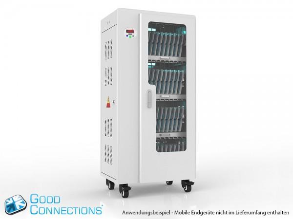 Tablet-Ladewagen für bis zu 40 Geräte, UV-C Desinfektion, Smart Control, Synchronisierungsfunktion für iOS/Android, grau, Good Connections®