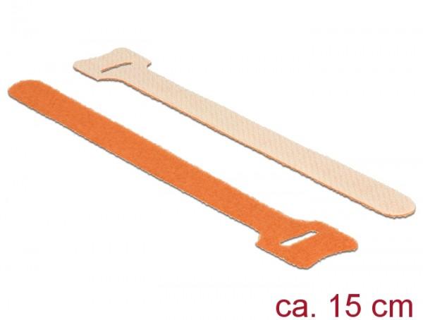 Klett-Kabelbinder L 150mm x B 12mm, 10 Stück, orange, Delock® [18695]