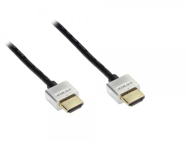 Anschlusskabel High Speed HDMI mit Ethernet, Stecker vergoldet, schwarz mit Metallstecker, 3m, Good Connections®