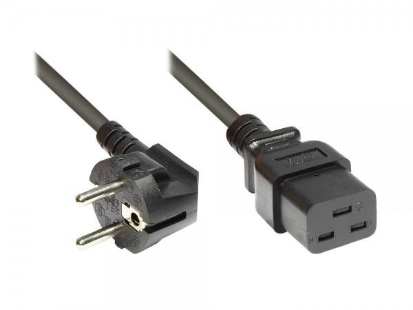 Netzkabel Schutzkontakt-Stecker an Kaltgerätebuchse C19, 3m, Good Connections®