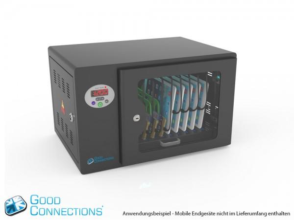 Tablet-Ladewagen für bis zu 10 Geräte, UV-C Desinfektion, Smart Control, Synchronisierungsfunktion für iOS/Android, schwarz, Good Connections®