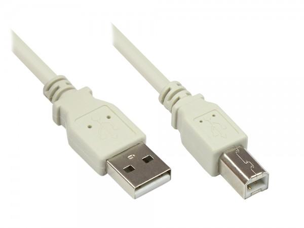 Anschlusskabel USB 2.0 Stecker A an Stecker B, grau, 10m, Good Connections®