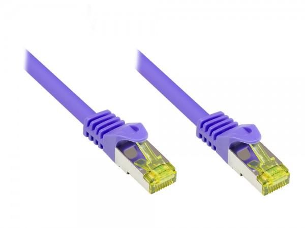 RJ45 Patchkabel mit Cat. 7 Rohkabel und Rastnasenschutz (RNS®), S/FTP, PiMF, halogenfrei, 500MHz, OFC, violett, 0,15m, Good Connections®