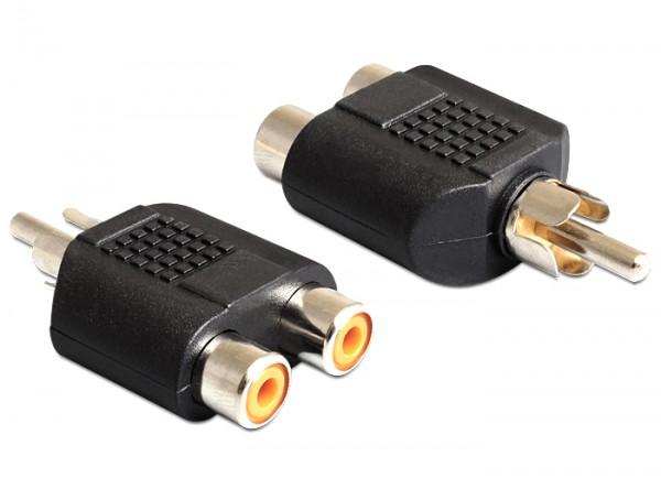 Adapter 2 x Cinch Buchse an 1 x Cinch Stecker, Delock® [84499]