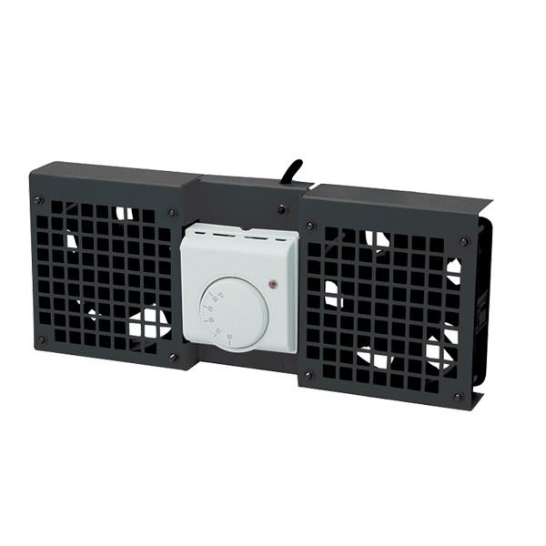 Dachlüftereinsatz für Wandgehäuse mit 2 Lüfter, schwarz, LogiLink® [FAW102B]