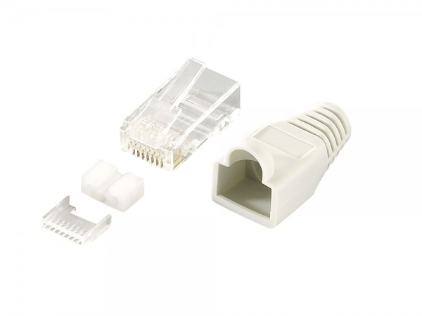 Modular Stecker Cat.6 RJ45 100 Stück, geschirmt, graue Tülle, LogiLink® [MP0021]