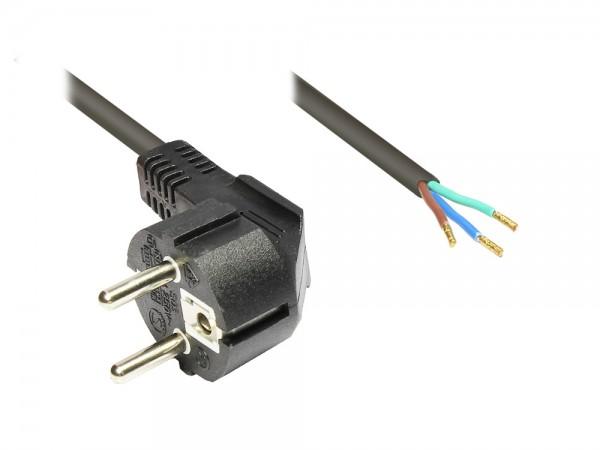 Netzkabel Schutzkontakt-Stecker gewinkelt mit abisolierten Enden, schwarz, 2m, Good Connections®