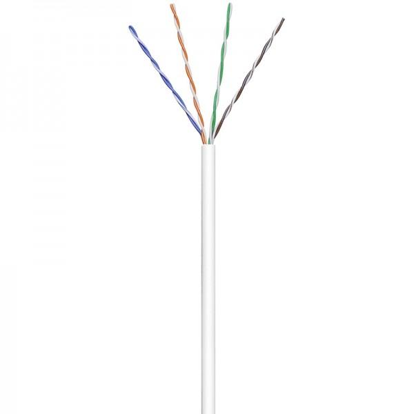 Patchkabel CAT 6, U/UTP, PVC, 250MHz, 4x2xAWG24/7, weiß, 100m, Good Connections®
