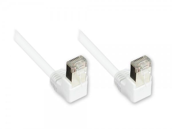 Patchkabel, Cat. 5e, F/UTP, weiß, beidseitig 90° nach unten gewinkelt, 15m, Good Connections®