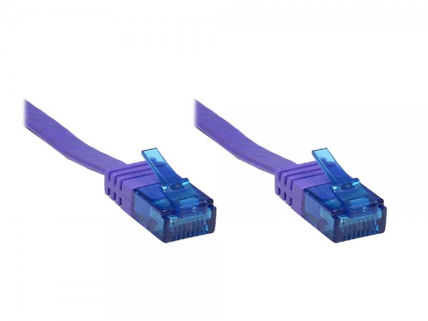 Patchkabel, Cat. 6a, U/UTP, FLACHKABEL, 500 MHz, violett, 7m, Good Connections®