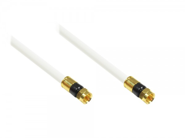 SAT Antennenkabel, F-Kompressionsstecker beidseitig (vergoldet), 5x geschirmt (class A, >100dB / 75 Ohm), CU, weiß, 1,5m, Good Connections®