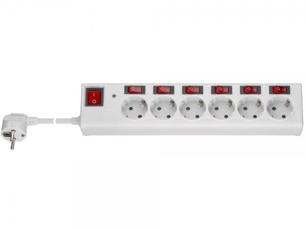 Steckdosenleiste 6-fach Schutzkontakt mit Einzelschaltern und Hauptschalter, weiß, 1,5m
